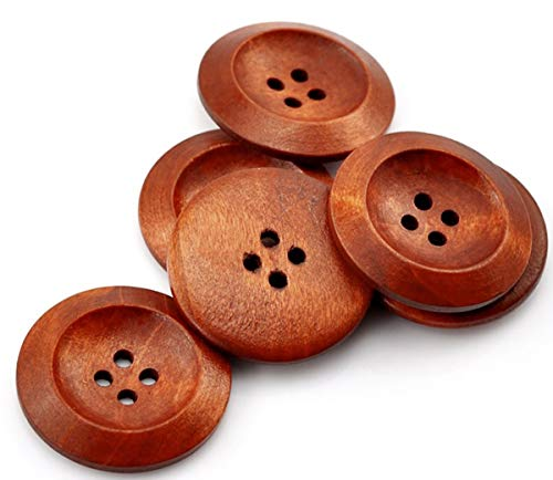 Sadingo Holzknöpfe braun, Knöpfe zum basteln, große Knöpfe, braune Knöpfe, Knöpfe Natur, Dekoknöpfe, 50 Stück, 3 cm