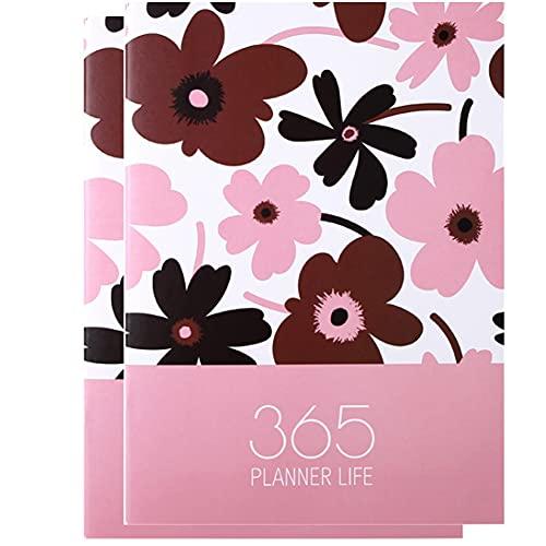 FACHAI Paquete de 2 cuadernos A4, planificador para 2021, bloc de notas con forro en 4 diseños surtidos. Cuaderno de tapa dura con papel liso de 20,5 x 28,5 cm