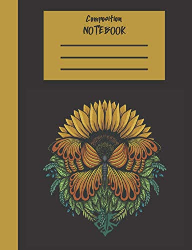 Composition Notebook: 7.5 x 9.75 100 Dotted Pages Butterfly Flower Themed Journal for School & College