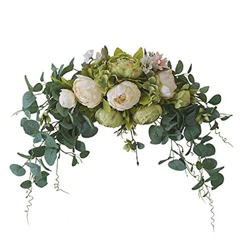 FAMKIT Künstliche Rosen-Girlande, dekorative Girlande für Hochzeit, Zuhause, Zimmer, Garten, Beige und Grün, 75 x 22 cm