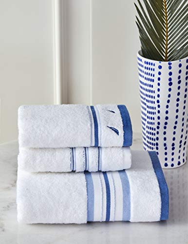 Nautica Juego de toallas de mano, 100% algodón, 500 g m², 30 x 50 x 2 + 50 x 90, absorbentes, suaves y duraderas (3 unidades)