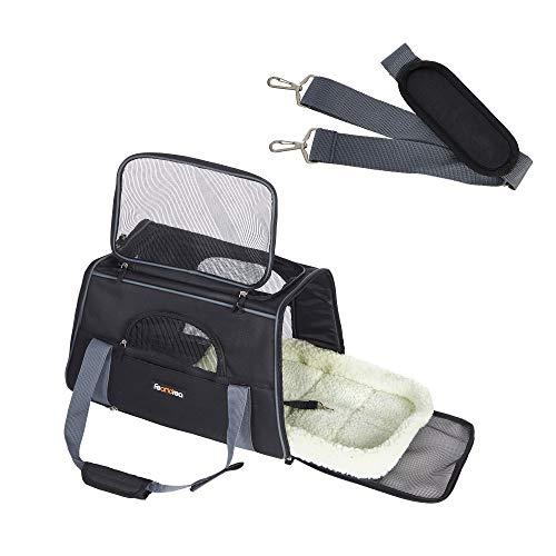 FEANDREA Hundetasche, Transporttasche für Haustiere, schwarz PDC48BK