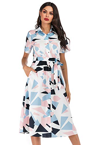 SHENGYI Women's Vintage Bohemia Printing Short Sleeve Pocket Casual Summer Work Business Midi Dress with Belt Plaid Medium
