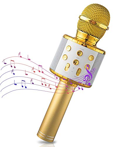 Maxesla Microfono Karaoke Bluetooth, 4in1 Microfono Bambini con cassa Luci LED Multicolore, Portatile Microfono Bluetooth Wireless per Cantare, per Adulti e Bambini, Compatibile con Android iOS PC,Oro