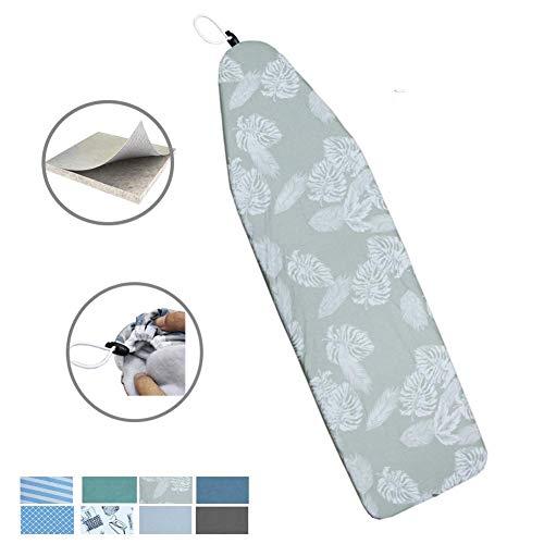 Duwee 137 x 38cm Hitzebeständige metallische Bügeltischbezug langlebiges Gut verdicken Filz-Material-Standardgrößen-mehrfarbige Wahlen, mit der elastischen Schnur (White Leaves)
