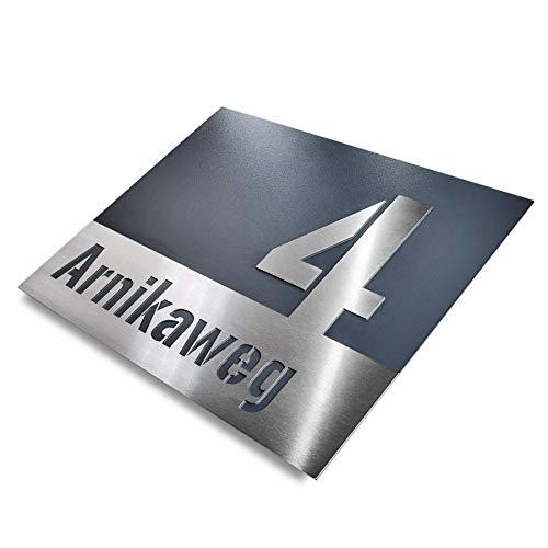Hausnummer-Plakette Edelstahl-Schild – modern design – Straßenname Anthrazit RAL 7016 rostfrei – Unterputz (L 175x250 mm)