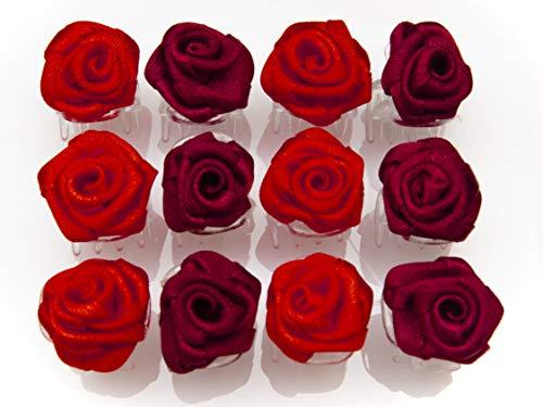 OiA 12 Stück Haarspangen mit Rosen | Haarschmuck für Frauen, Kinder, Haarnadeln, Blumen für Frisuren | Farbe: rot und weinrot
