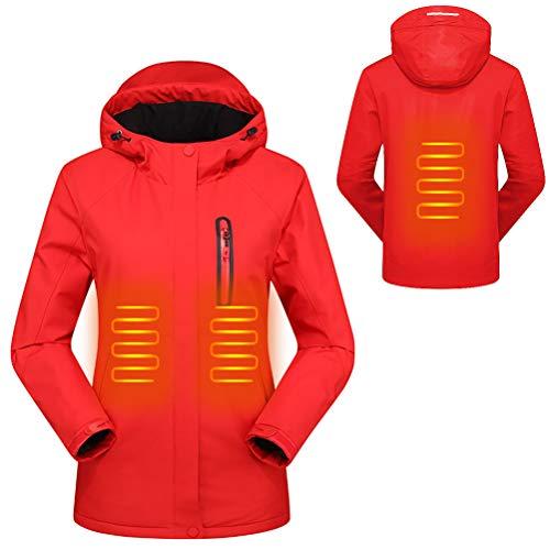 Mekta - Chaqueta cálida para el tiempo libre, corte ajustado, climatizado, impermeable, con capucha Rojo (mujer). S