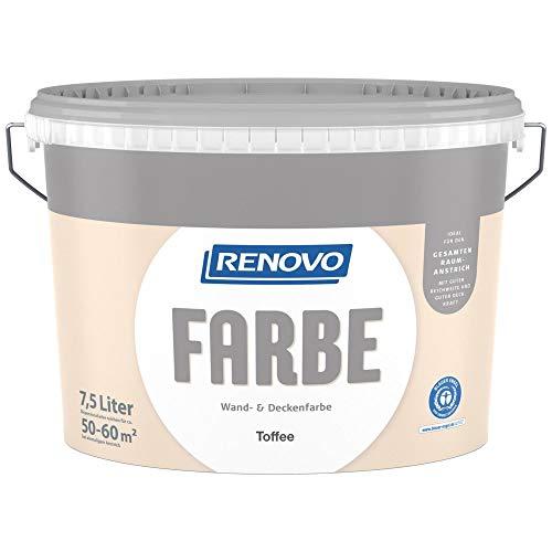 7,5 Liter RENOVO Wand- und Deckenfarbe Toffee, Matt …
