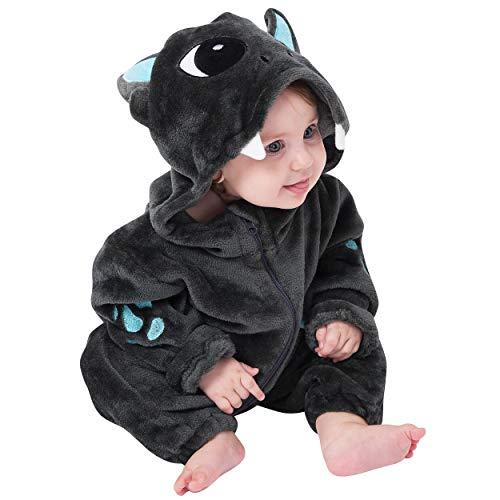 corimori (Baby Onesie Spark der Drache Süßes Tier Plüsch-Kostüm Strampler Schwarz Hell-blau (60-70 cm)