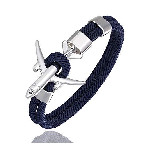 QIULING Bracelet Ancre Mode Avion Ancre Bracelets Hommes Charme Corde ChaîNe Bracelet MâLe Femmes Style Wrap MéTal Sport Crochet(Bleu foncé,19cm)