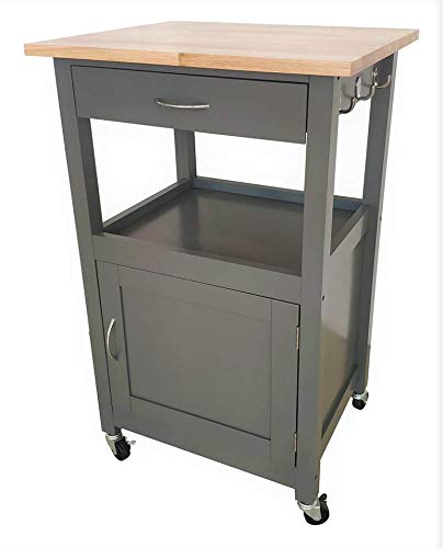 eHemco Kitchen Island Cart Natural Wood Top (Grey)