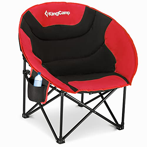 KingCamp Moon Chair Camping Folding Garden Chairs Heavy Duty Padded Camping Chair With Cup Holder and Back Pocket