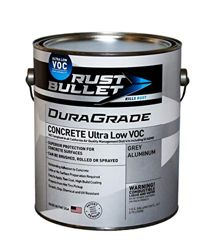 Rust Bullet DuraGrade Ultra Low VOC (Gallon) High-Performance Easy to Apply Concrete Coating in Grey Aluminum for Garage Floors, Basements, Porch, Patio and More.