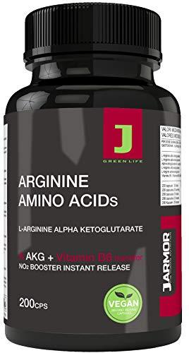 J.ARMOR Suplemento Vegano con L Arginina Akg Aminoácido + Vitamina B6-200 Cápsulas de Polvo Puro - Óxido Nítrico - Pre Entrenamiento Muscular Vigor Sexual - Resistencia y Regeneración Muscular