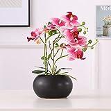 ENCOFT 34cm Fleur Artificiel Phalaenopsis Orchidée Plastique en Pot Bonsaï Décoration Florale pour Chambre Bureau Balcon Salon Jardin(orrange, 34cm)