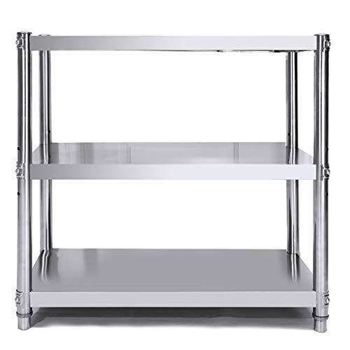 WYQ 3-stufiges Regal for kleine Küchen, Edelstahlregal, ausreichend belastbare 300 kg platzsparende Küchenablage (Größe : 60×40×80cm)