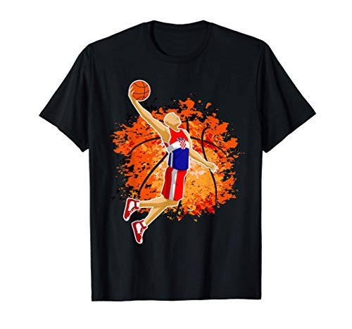 Croatia Basketball Team Croatian Flag Slam Dunk Sport Lover T-Shirt