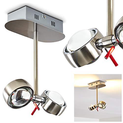 LED plafondlamp Florence, plafondlamp in mat nikkel, 2-vlam met verstelbare glazen lampkop, 2 x 4,5 Watt, 800 lumen totaal, lichtkleur 3000 Kelvin (warm wit)