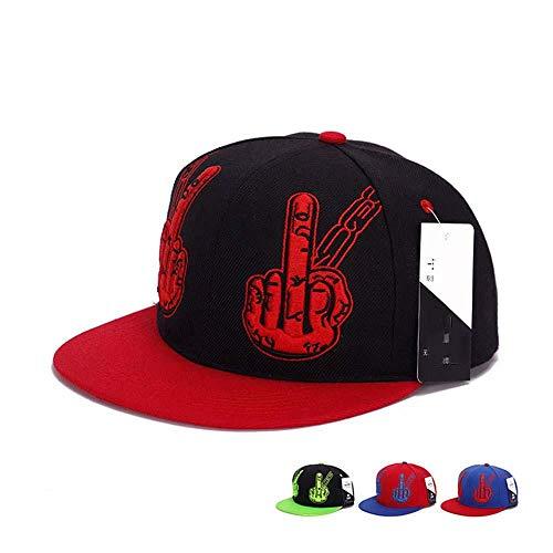 Baseball Caps für Damen Baseball Caps für Herren Sonnenschutz Hip Hop Hut Stickerei Mittelfinger Gestikulieren Baseball Cap männliche Dame flach entlang Entenzunge Hut @ rot mit schwarz