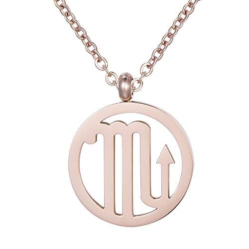 Morella collana da donna in acciaio inox oro rosa con ciondolo segno zodiacale Scorpione in sacchetto di velluto