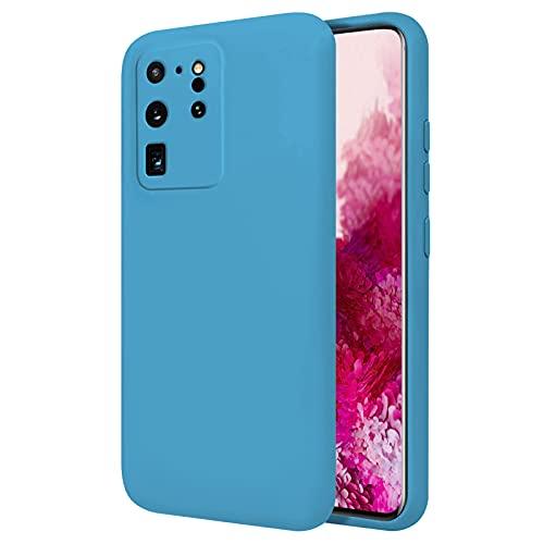 TBOC Funda Compatible con Samsung Galaxy S20 Ultra 5G [6.9'] - Carcasa Rígida [Celeste] Silicona Líquida Premium [Tacto Suave] Forro Interior Microfibra [Protege la Cámara] Antideslizante Resistente