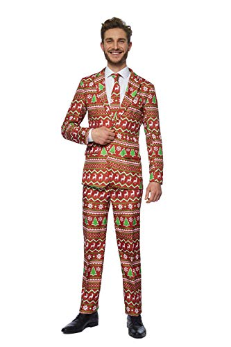 Suitmeister Christmas Suits for Men – Red Christmas – Ugly Xmas Sweater Costumes Include Jacket Pants & Tie – M