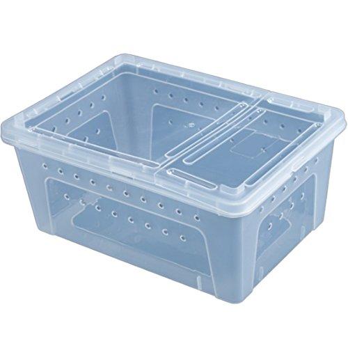 BANDRA Transparent Kunststoff Faunarium Reptilienbehälter Transport und Fütterungsbox für Reptilien-Spinne Eidechse Frosch Cricket Turtle Crab Snack 26 * 18,5 * 12 cm