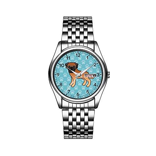 Männer Luxusuhr 30m Wasserdicht Datum Herrenuhr Sportuhren Herren Armbanduhr Quarz Lässige Geschenk Aprikose Mantel Alten Englischen Mastiff Hund Cartoon Armbanduhren