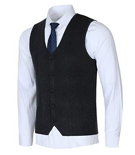 Homovater Men's Slim Fit V-Neck Jacquard Knitwear Sweater Vest Waistcoat Button-Down Sleeveless Cardigan Business Suit Gilet Dark Gray