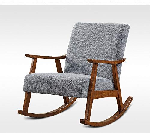 WANGYG Schaukelstühle Amerikanischer Freizeitschaukelstuhl Erwachsener älterer Stuhlstuhl-Stuhllehnenfestholzstuhl-Hotelzimmermöbel rauchgrau