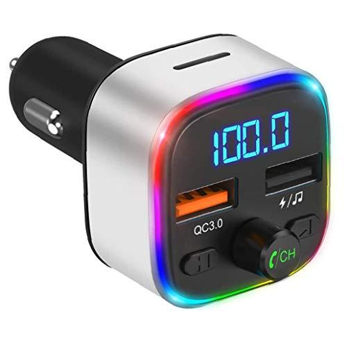 FeelMeet Transmisor USB Bluetooth Adaptador de Coche Cargador de Coche USB con 3 Puertos de Pantalla para la cámara del teléfono MP3 Registrador de la conducción de Plata