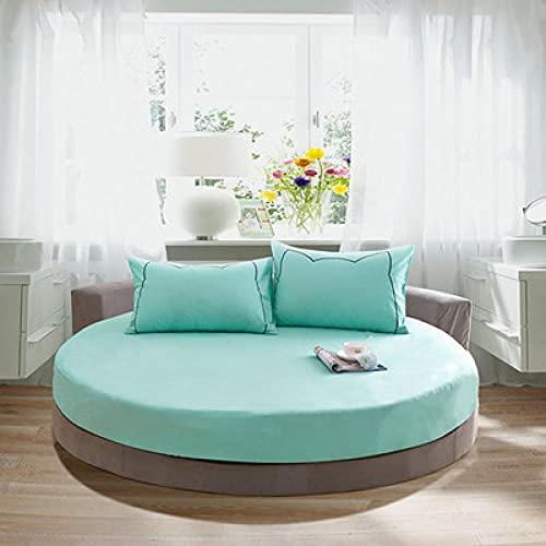 DSman Protector de colchón Acolchado - Microfibra - Funda para colchon estira hasta Colcha de Cama Redonda de algodón Color sólido-Verde Agua_2m