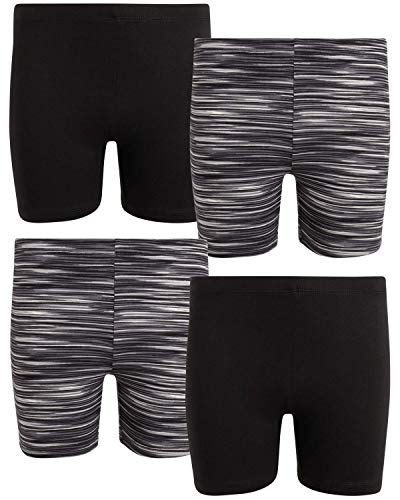 Only Girls Workout Dance Bike Short - Soft Touch Yummy Buttery Fabric (4-Pack) (Black/Black/Space Dye, 8-10)'