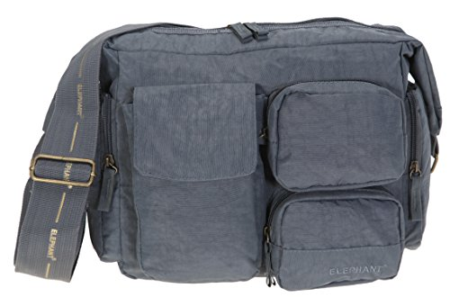 ELEPHANT Day Bag Schultertasche Handtasche Tasche Nylon + NAGELSET (Grau)