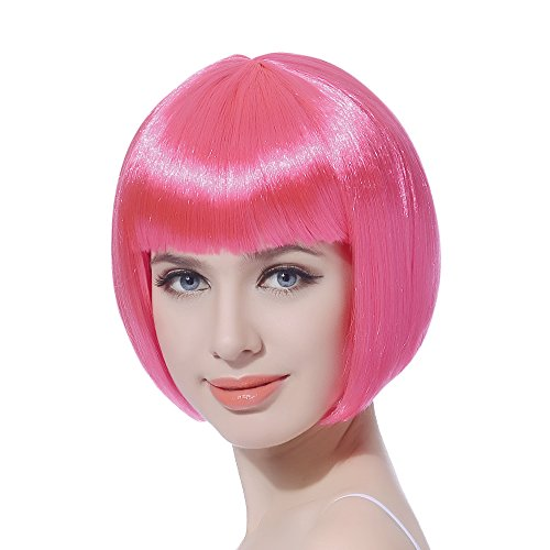 Pink Short Bob Cosplay Flapper Wig-Straight Synthetic Women's Natural Looking Halloween Party Christmas Bangs Costume Wigs
