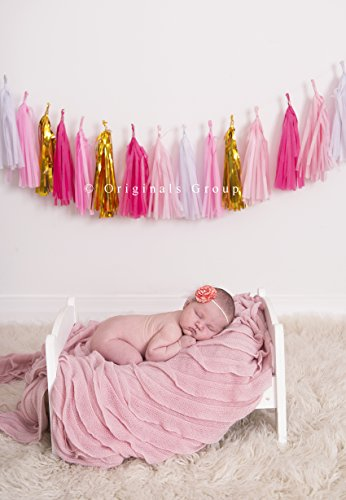 16 x color rosa papel de borlas de decoración de la boda guirnalda Tassle talego Pom Pip por grupo (Kit) originales