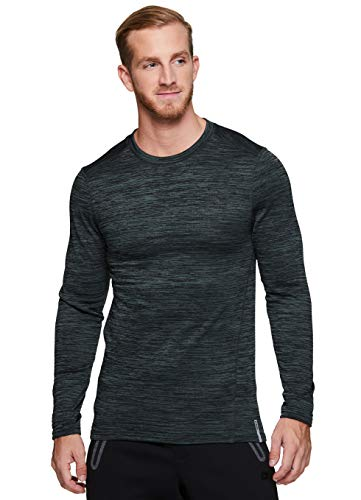 RBX Active Men's Athletic Performance Fleece Lined Thermal Long Sleeve Crewneck Fitted Base Layer T-Shirt F19 Dark Green L