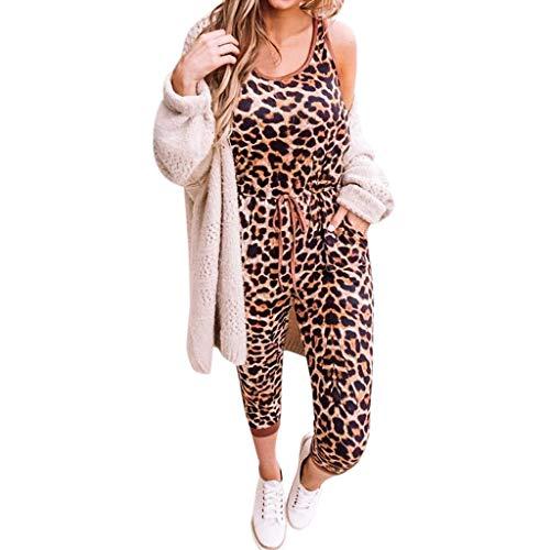 SIOPEW Jumpsuit Damen Elegant Sommer Sexy Retro Leopardenmuster ÄRmellos Rundhalsausschnitt Elastische Taille Langer Overall