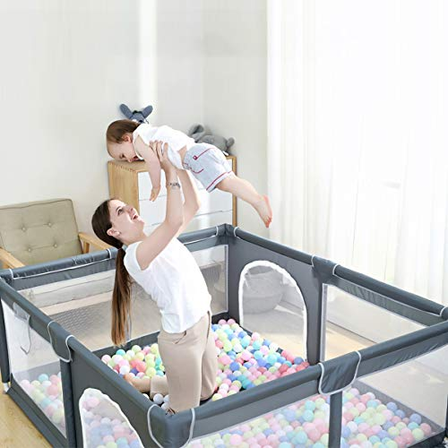 Ophobay Baby Playpen, Playpens for Babies, Extra Large Playyard for Toddler, Portable Kids Activity Center,Sturdy Safety Large Playard with Anti-Slip Suckers and Super Soft Breathable Mesh