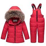 Lvguang Chaqueta de Plumón para Niños Chaqueta con Cremallera Ropa de Abrigo Ropa y Pantalones Cálidos (Rojo, Asia M)