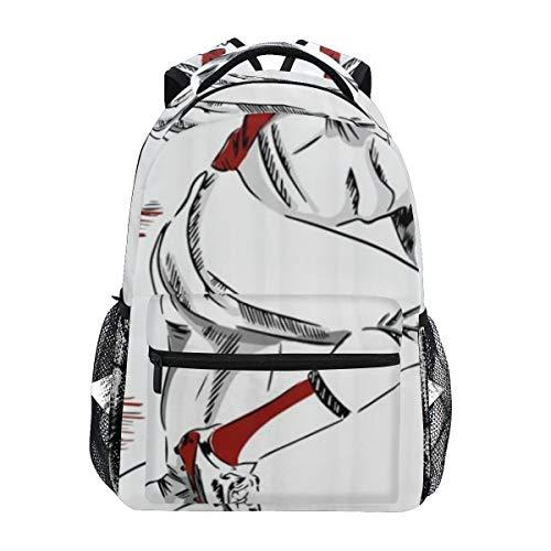 DISLONLY Rucksack Sporttasche Freizeittasche,Amerikanischer Fußball-Sport-Thema-männlicher Athlet with Helmet und Handschuhe, die laufende Skizze halten