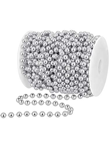 50 Feet Christmas Tree Beads Artificial Pearls Beads Garland Plastic Beads Roll for Christmas Wedding DIY Decoration Supplies (Silver)