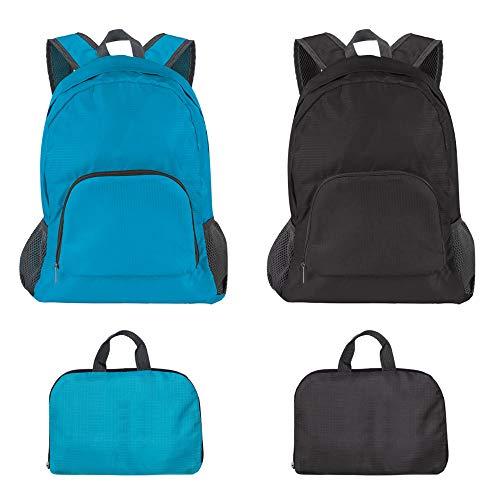 SourceTon - Zaino pieghevole leggero da viaggio, impermeabile, 20 litri (nero e blu), per campeggio, viaggi all'aperto, ciclismo, ciclismo, confezione da 2