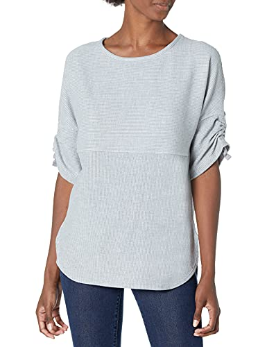 Max Studio Women's Ruched Sleeve Rib Knit Pullover, Ash, Large