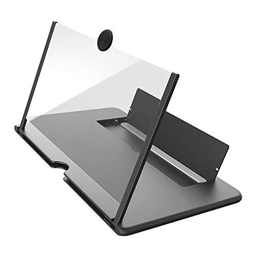 YUY 12-Zoll-Bildschirmlupe Für Mobiltelefone, Faltbarer 3D HD-Desktop-Ständer, Geeignet Für Alle Mobiltelefone,Black-10inches