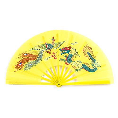 Yoking Fan de Kung Fu Chi Artes Marciales Ventilador plegable de plástico portátil plegable para danza (amarillo)