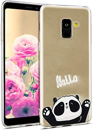 Uposao Kompatibel mit Hülle Galaxy A8 Plus 2018 Silikon Handyhüllen Bunt Muster Transparent TPU Silikon Handyhülle Durchsichtige Schutzhülle TPU Weich Tasche,Niedlich Panda