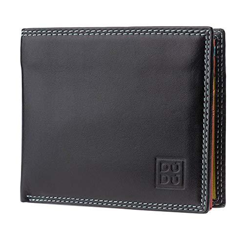 DUDU Portafoglio Piccolo Colorato da uomo in Pelle Nappa con Portamonete Porta carte e Banconote Nero