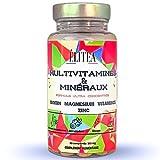 ÉLITEA Formule Multivitamines Minéraux et complément Alimentaire Biotin, Magnésium Zinc Fer Ultra concentré Vitamines A B C D3 E B1 en comprimes Tonus Vitalité Homme Femme Fatigue Système Immunitaire